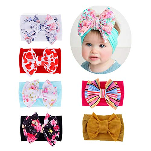 2019 Newest riot of colors Baby Nylon Elastic Headbands Turban Bow Girl Hairbands Toddler Hair Accessories