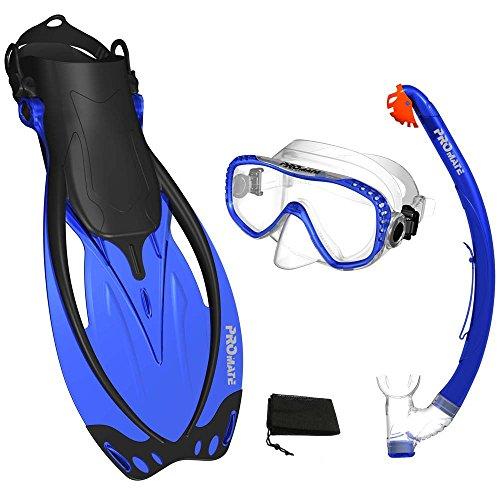 Promate Blue, MLXL, scs0003, Snorkeling Mask Fins Dry Snorkel Set Gear Bag