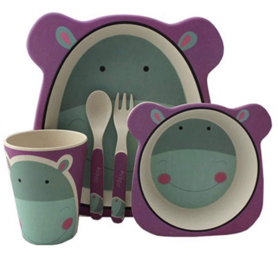 Bambus Roldeo Kindergeschirr-Set 5-teilig Hipopotamo