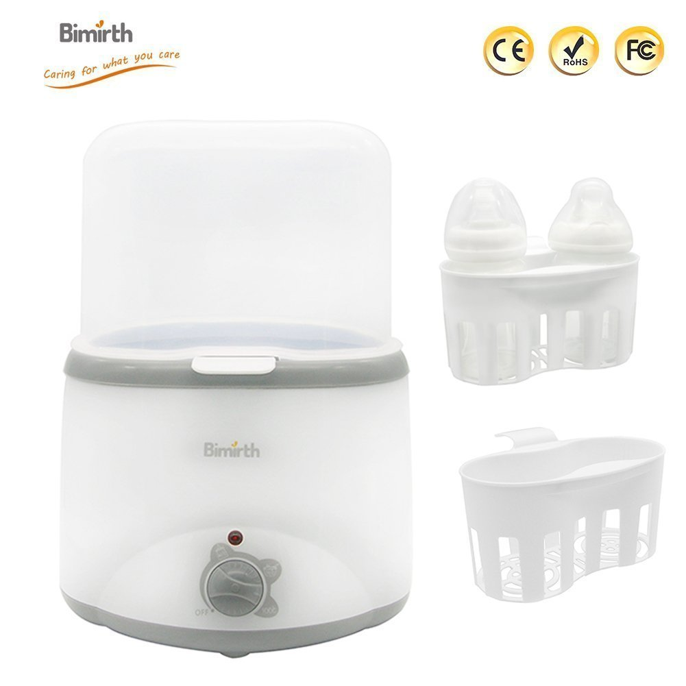 Bottle Warmer, 2 in 1 Electric Baby Breast Milk Bottle Food Multifunctional Milk Heater Sterilizer Warmer Double Bottle for Twins and Babies Bimirth