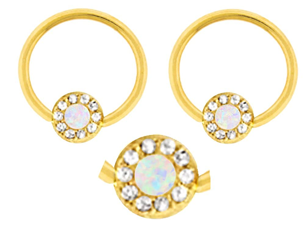 earring hoop 14g belly Pair of Gold Synthetic White opal cz gem Captive bead Ring lip tragus cartilage nipple