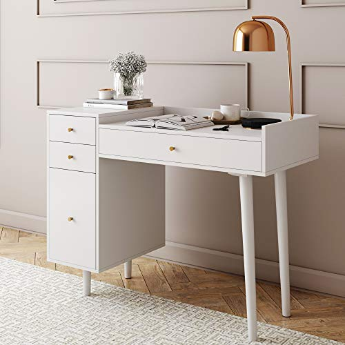 Nathan James Daisy Vanity Dressing Table or Makeup Desk with 4-Drawers and Brass Accent Knobs, White/Gold (Small Dressing Table Vanity)