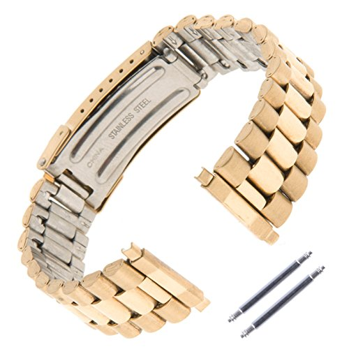 Gilden Unisex President-Style Non-Expansion 18-23mm Gold-Plated Stainless Steel Watch Band 1536-Y