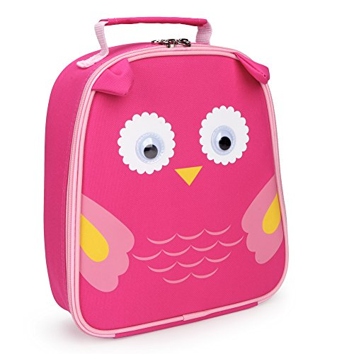 Yodo Kids Insulated Lunch Tote Bag with Name Tag, Owl