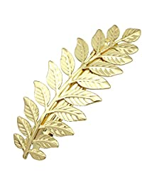 Q&Q Fashion Festival Bridal Gold Leaf Branch French Updo Hair Pin Clip Dress Snap Barrette