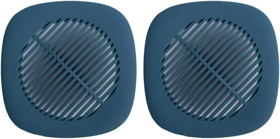 Dotool - 2 piezas de colador de desagüe de silicona con ventosa, colador para ducha, bañera, lavabo, baño, cocina, filtro de desagüe antiobstrucciones (azul oscuro, 14 x 14 cm)
