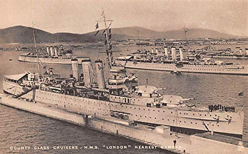 Military Battleship Postcard, Old Vintage Antique Military Ship Post Card County Class Cruisers, HMS London Unused