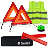 Automotive : Always Prepared Visibility Roadside Emergency Kit for Your Vehicle, Car, Truck w/Storage Bag - 2 x Foldable Emergency Triangles + Vehicle Warning Light + Reflective Vest - Must Have Safety Tools!