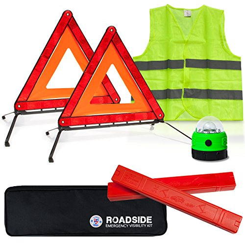 Always Prepared Visibility Roadside Emergency Kit for Your Vehicle, Car, Truck w/Storage Bag - 2 x Foldable Emergency Triangles + Vehicle Warning Light + Reflective Vest - Must Have Safety Tools! - Flashing Safety Reflector