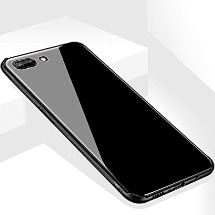 competitive price 260c9 0a3bf Oppo A3s Luxurious Toughened Glass Back Case with Shockproof TPU Bumper  Back Case Cover for Oppo A3S (Black)