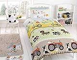 Highliving Kids Children Boys & Girls Single Bed Duvet Quilt Cover & Pillow Case Set (Single, Tractors)
