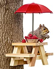 SQUIFTY Squirrel Feeder Picnic Table with Red Umbrella and Large Peanut Bowl | for Corn Cob Feeding | New Premium Gift for Squirrel and Chipmunk Lovers | Wildlife Bird Animal Feeder Garden Ornaments