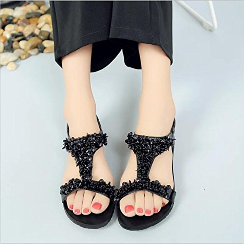 Womens Sandals ,Clode® Summer [New Fashion] Ladies Girls Bohemia T-Strap Bandage Flat Gladiator Sandals Beach Shoes Black