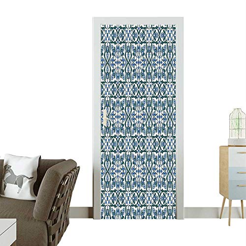 Door Sticker Motifs Hand Tile Ancient Antique Pattern R EDA Green Silver Blue Removable Door Decal for Home DecorW35.4 x H78.7 -