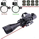 Lovebay 3 in 1 Tactical Rifle Scope 4-12x50EG Dual Illuminated with Holographic 4 Reticle Red&Green Dot Sight and Red Laser Sight for Hunting (black)