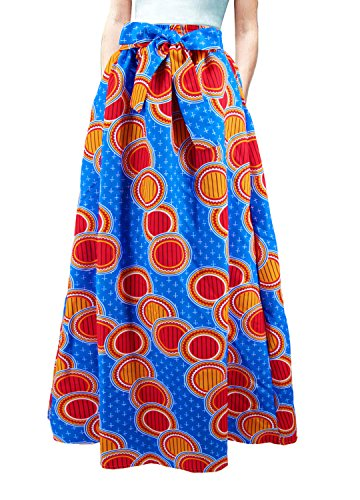 Multifit Women African Print A Line Pleated High Waist Expansion Skirt Maxi Skirt Casual Long Skirt(Blue&Red) by Multifit