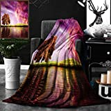 Unique Custom Double Sides Print Flannel Blankets Magic Collection Supernatural Sky Scenery With Mystical Northern Solar Lights And Super Soft Blanketry for Bed Couch, Throw Blanket 50 x 60 Inches