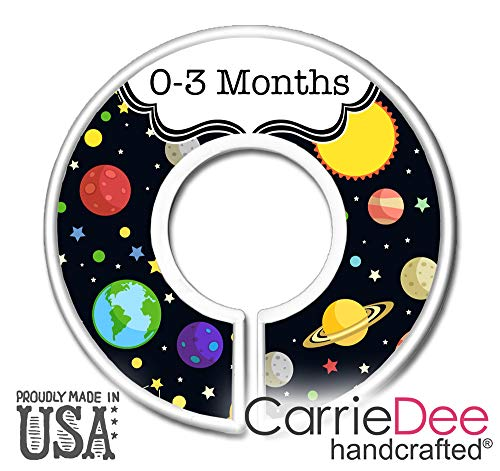 CarrieDee Handcrafted Nursery Closet Size Dividers, Boys Solar System Baby Clothes Organizers, Space Theme Nursery, Solar System - Set of 11 ()