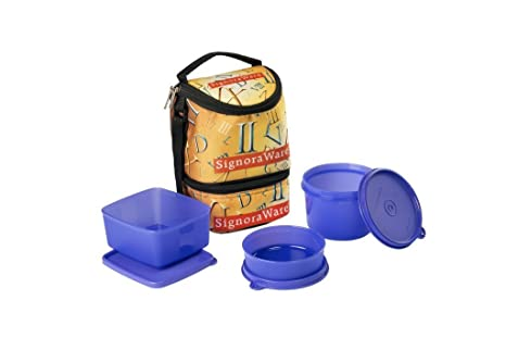 Signoraware Roman Trio Lunch Box with Bag Set, 3 Pieces, Deep Violet Lunch Boxes