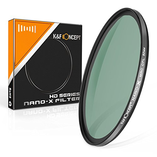 Polarisationsfilter 82mm K&F Concept® Nano CPL 82mm,Objektiv Filter 82mm,MC CPL Filter,Zirkular-Polfilter,HD Filter,Slim Filter,Polfilter Zirkular mit MRC Mehrschichtvergütung Grünfolie