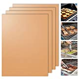 Gold Grill Mat Set of 4 - Bigear 100% Non-stick BBQ Grill Mats - Heavy Duty, Reusable and Easy to Clean - Works on Gas , Charcoal , Electric Grill and More - 15.75 x 13 Inch