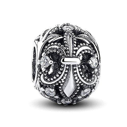 Sterling Silver Fleur De Lis Flower Charm Clear CZ Bead Fit Pandora Charm Bracelet ()