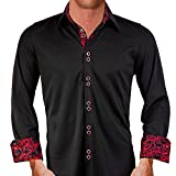 Anton Alexander Active Collection Men's Designer Dress Shirt Made In USA -L Fitted-Black/Red Paisley