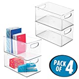 mDesign Office Organizer Bins for Pens, Pencils, Note Pads, Staples, Tape - Pack of 4, 10'' x 6'' x 5'', Clear