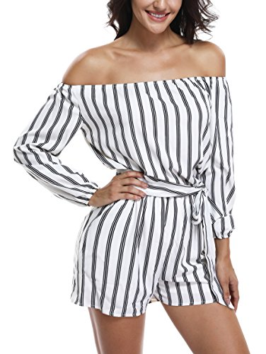 (MISS MOLY Rompers and Jumpsuits for Women Long Sleeve Strapless Off The Shoulder Boat Neck Summer Sexy Dressy Rompers White)