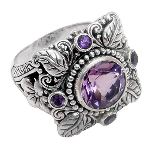 Ring Opeof Vintage Women Jewelry Gift Faux Amethyst Inlaid Hollow Flower Leaves Charm Ring - Antique Silver US 7