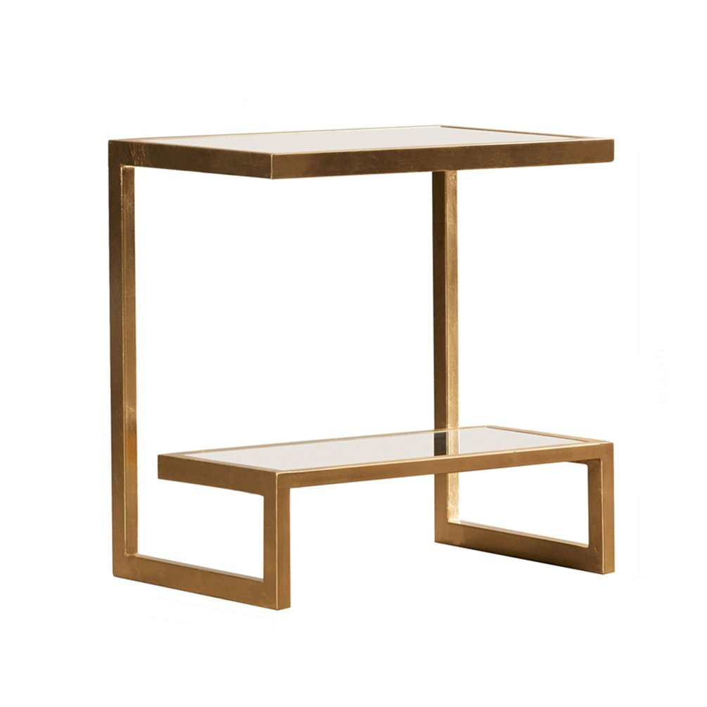 CSQ ゴールデンコーヒーテーブル、創造的な強化ガラス小さなコーヒーテーブルのリビングルームソファの装飾いくつかの側面コーナーいくつかの鉄のアートのベッドサイドテーブル小さな正方形テーブル35 * 50 * 55CM (サイズ さいず : 35*50*55cm) B07DZQKG9M35*50*55cm