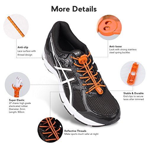 for Shoe Tie Lock Running Adults and Pairs Lacing No Hiking Reflective with Orange Shoes Running Elastic for System Laces Kids Climbing Quick 3 Shoelaces qEztR8R