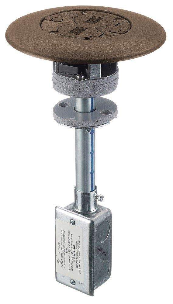 Hubbell Wiring Systems PT7FSDBRA Aluminum 1 Piece Unit Fire-Rated Poke-Through Flush Duplex Floor Fitting, 7'' Diameter x 13.24'' Length, 3'' Core Hole, Brown