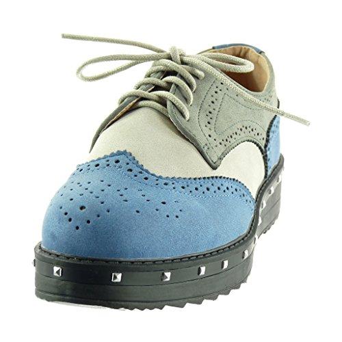 a derby 5 3 blocco perforato da tacco Blu zeppe scarpa Angkorly alto Scarpe Moda CM Tacco donna borchiati fvqAIA4w