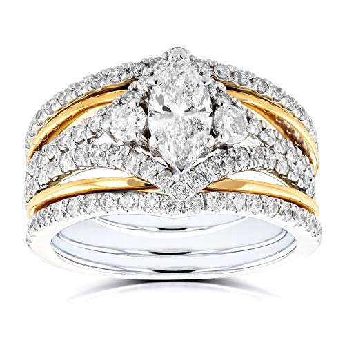 (Art Deco Marquise Diamond 3-Piece Bridal Ring Set 1 2/5 Carat (ctw) in 14k Two-Tone Gold, Size 8.5, White & Yellow Gold)