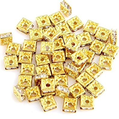 (TOOGOO(R) 50 Gold Square Rhinestone Roundel Bead Jewelry Spacer)