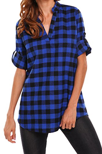 Beyove Women's 3/4 Cuffed Sleeve V-Neck Pullover Plaid Top T-Shirt Blouse, Blue, (Xxl Blue T-shirt)