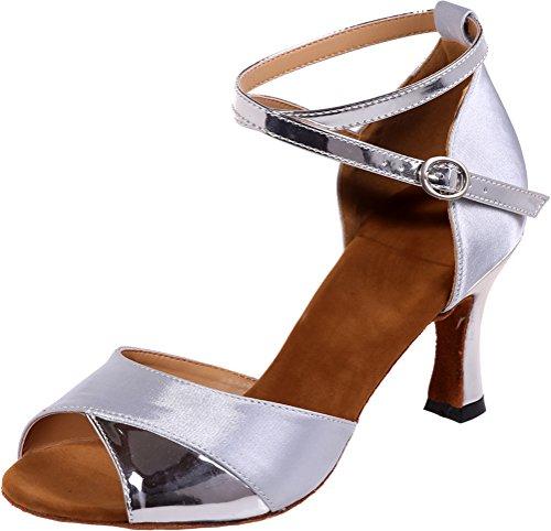 Shoes CFP Silver Toe Swing Practice Comfort Ladies Sole Sudue Wedding Peep Practice Ankle Beginner Party Latin Fashion Salsa Straps Cha Dance Cha Ballroom Tango 3IN Satin rgq8x7r