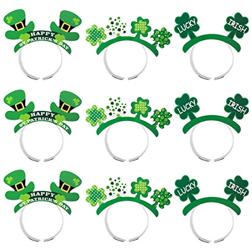 Leprechaun Head - Amosfun 9pcs St. Patrick's Shamrock Headband Leprechaun hat Costume st Patrick's Day Party Supplies (Green)