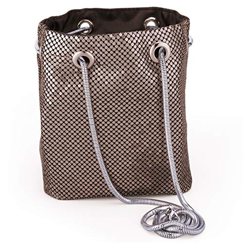 Mesh Chain Mail Bucket Bag Shoulder Bags crossbody bag for Women Metal Mesh Evening Handbags Clutch Purses in Coffee