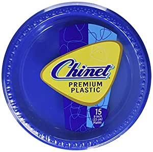 Chinet Premium Plastic Plates, Red/Blue, 9 Inch, 15 Count