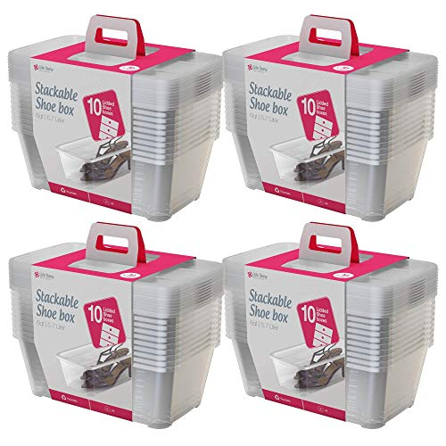 Life Story 5.7-Liter Clear Shoe & Closet Storage Box Stacking Container, 40 Pack