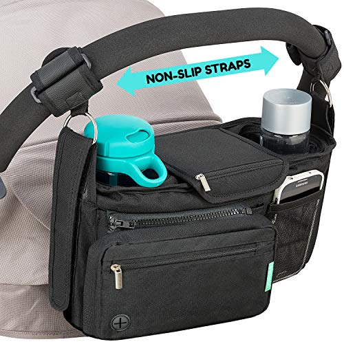 STROLLER ORGANIZER with cup holders NON-SKID strap FITS ALL strollers