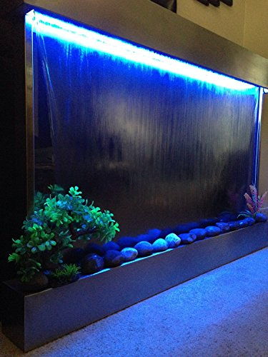 Waterfall XXL 52''x35'' Wall Fountain , Stainless Steel ,Mirror Glass , Color Lights , Remote Ctrl by Jersey Home Decor