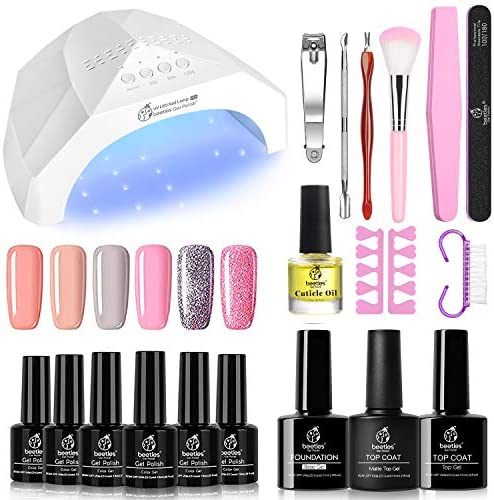 Beetles Nude Pinks Gel Nail Polish Kit with U V Light 48W LED Nail Lamp Glitter Gel Nail Polish Starter Kit Manicure with Light, Soak Off LED Gel Nail Polish Set Nude Gel Nail Kit Designs DIY Home