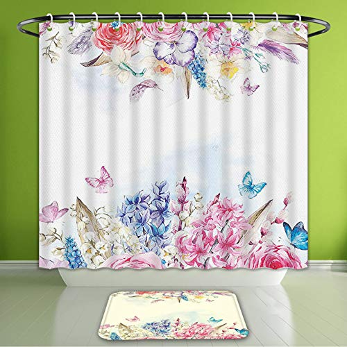 (Waterproof Shower Curtain and Bath Rug Set Shabby Chic Romantic Garden Roses Flowers Daisies Leaves Print Light Pink Purple Light Blue and Bath Curtain and Doormat Suit for Bathroom 72