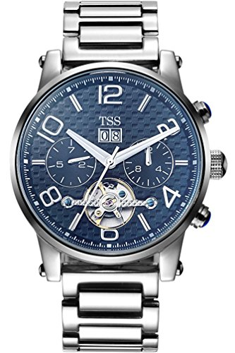 TSS Men's Automatic Tourbillon Watch T8031T2 - Stainless Steel Round Watch Protective Mineral Blue Coated Window - Precise Movement Analog Display - Water Resistant Up to 30m ()