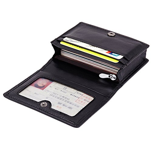 Esdrem Premium Lambskin Business Name Card Holder Slim Compact Credit Card Case Wallet with ID Window Zip Coin Pocket (Black)