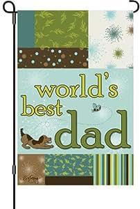 Premier Kites 51824 Garden Brilliance Flag, World's Best Dad, 12 by 18-Inch