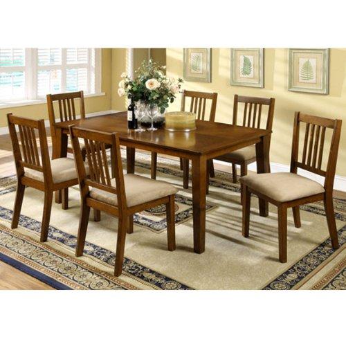 Mackay Transitional Style Dark Oak Finish 7-Piece Dining Set
